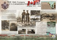 Poster panel: The 126th Company of the Canadian Forestry Corps - Ampthill 1917 - 1918. The poster features setions entitled A Need For Timber, Transporting Logs By Road Engine, The Firs - a postscript, The Sawmill at Amphill Station and in May 1916 at the request of the British Government 1600 Canadian Woodsmen Officers and men, complete with details of equipment sent to Britain to start operations.
