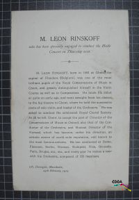 Life Story of M. Leon Rinskoff A discription of M. Leon Rinskoff's life, where he has traveled, what he has achived and what he has been specially engaged to do. The text tells us of the special engagement which is to conduct the Halle Concerts.