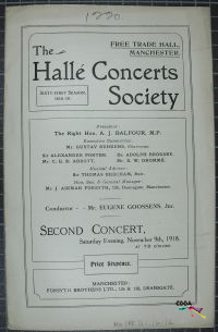 Title page of Halle Concerts Society's Sixty-First Season Second Concert  Cover Page informs us of the location: Free trade Hall Manchester and The Price of the concert: Sixpence