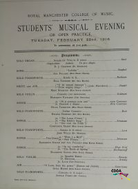 Students Musical Evening Students Musical Evening Varying from Solo Organ to Solo Pianoforte